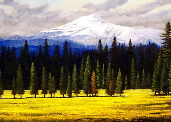 Landscape Greeting Card featuring the painting Spring Meadow Mount Brokeoff by Frank Wilson