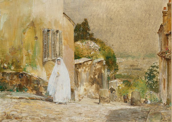 Spring Morning Greeting Card featuring the painting Spring Morning At Montmartre by Childe Hassam