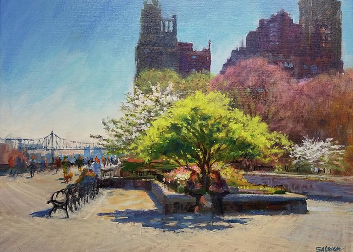Landscape Painting Greeting Card featuring the painting Spring Morning On John Finley Walk by Peter Salwen