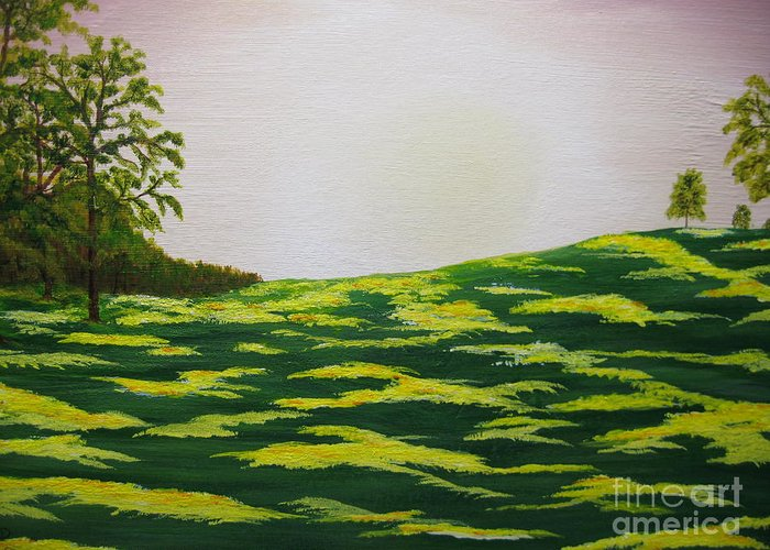 Trees Greeting Card featuring the painting Spring Morning by Todd Androy