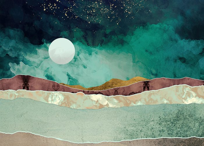 Spring Greeting Card featuring the digital art Spring Night by Katherine Smit
