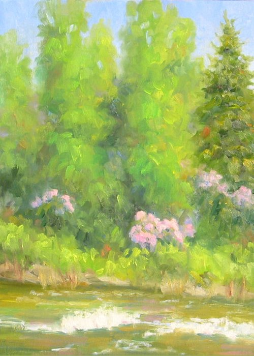Landscape Greeting Card featuring the painting Spring On Gore Creek by Bunny Oliver