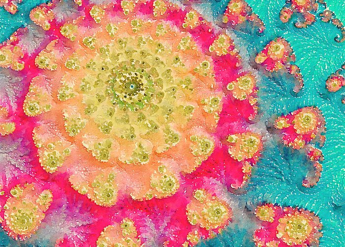 Fractal Art Greeting Card featuring the digital art Spring On Parade 2 by Bonnie Bruno