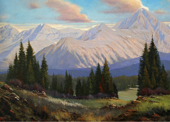 Landscape Greeting Card featuring the painting Spring On The Dallas Divide 070809-3624 by Kenneth Shanika