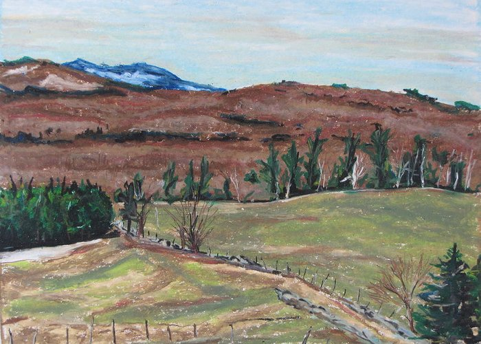 Landscape Greeting Card featuring the drawing Spring Piopolis Rd Val Racine Quebec Canada by Francois Fournier