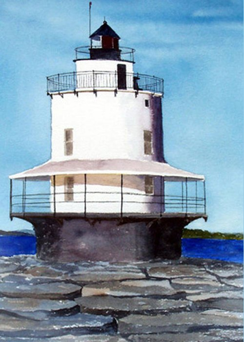Landscape Greeting Card featuring the print Spring Point Ledge Light by Anne Trotter Hodge
