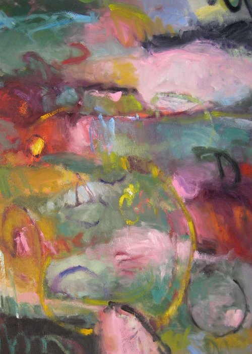 Abstract Greeting Card featuring the painting Spring Pond by Susan Jenkins