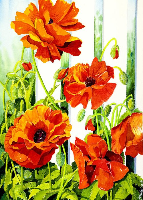 Poppies Greeting Card featuring the painting Spring Poppies by Janis Grau