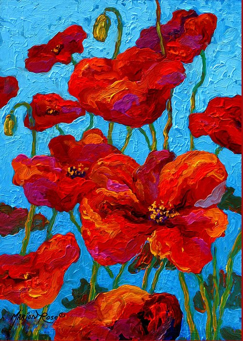 Poppies Greeting Card featuring the painting Spring Poppies by Marion Rose
