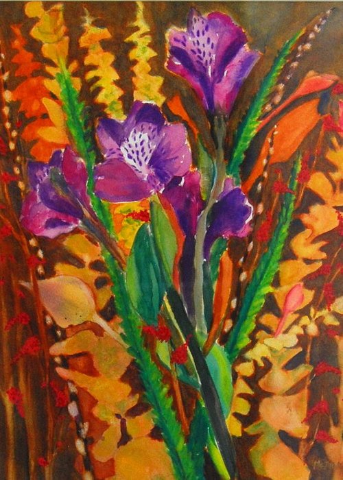 Abstract Floral Greeting Card featuring the painting Spring Purple Bouquet by Henny Dagenais