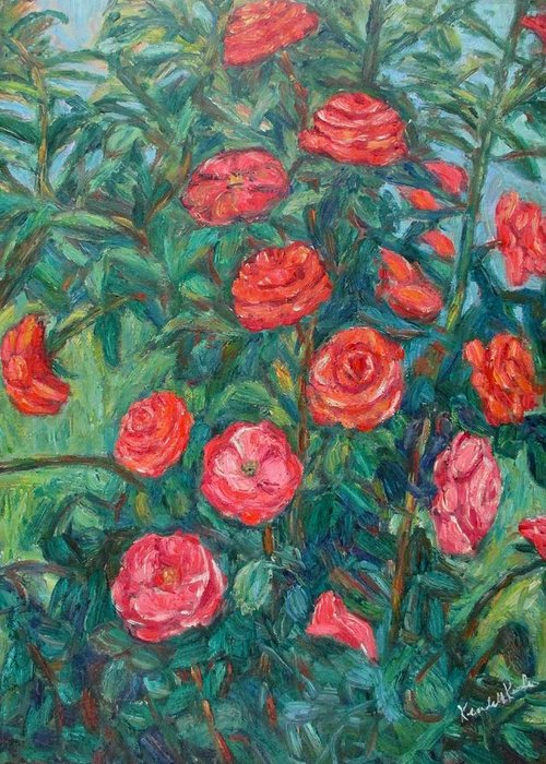Rose Greeting Card featuring the painting Spring Roses by Kendall Kessler