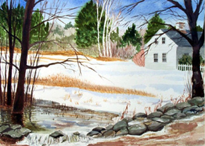 Landscape Greeting Card featuring the painting Spring Run-off by Anne Trotter Hodge