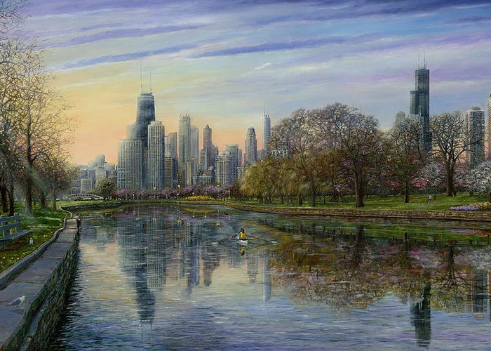 Chicago Skyline Greeting Card featuring the painting Spring Serenity by Doug Kreuger