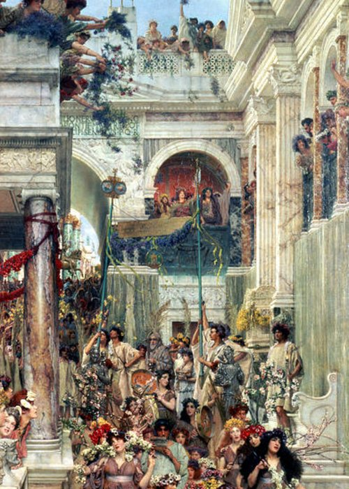 Spring Greeting Card featuring the painting Spring by Sir Lawrence Alma-Tadema