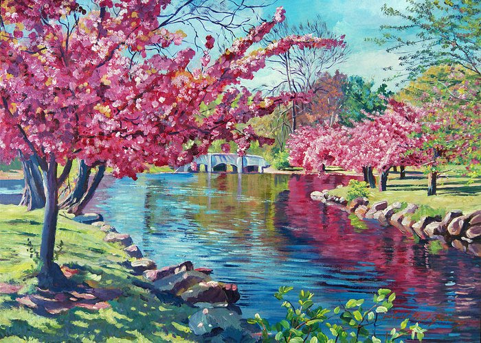 Landscape Greeting Card featuring the painting Spring Soliloquy by David Lloyd Glover