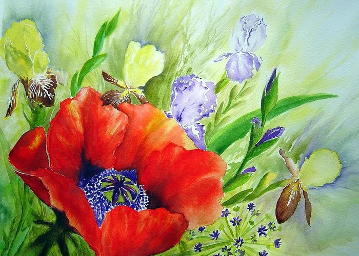 Poppy Iris Floral Painting Greeting Card featuring the painting Spring Splendor by Joanne Smoley
