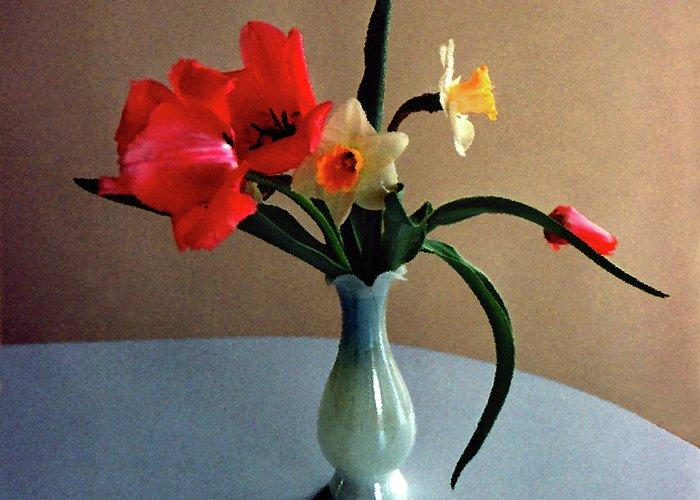 Spring Greeting Card featuring the digital art Spring Still Life by Steve Karol