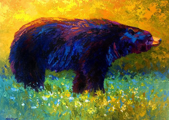 Bear Greeting Card featuring the painting Spring Stroll - Black Bear by Marion Rose