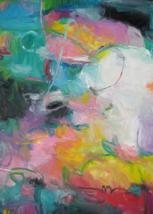 Abstract Greeting Card featuring the painting Spring by Susan Jenkins