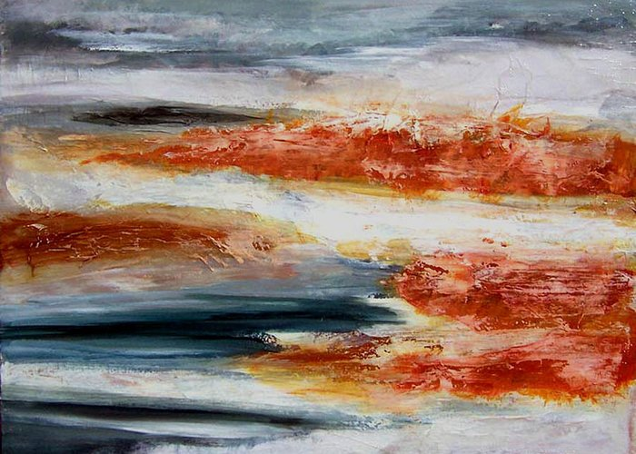 Abstract Greeting Card featuring the mixed media Spring Thaw by Anne Trotter Hodge