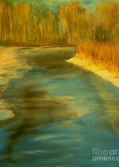 Landscape Greeting Card featuring the painting Spring Thaw by Julie Lueders