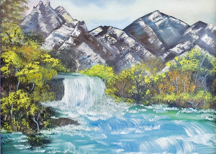 Oil Greeting Card featuring the painting Spring Thaw by Mikki Alhart