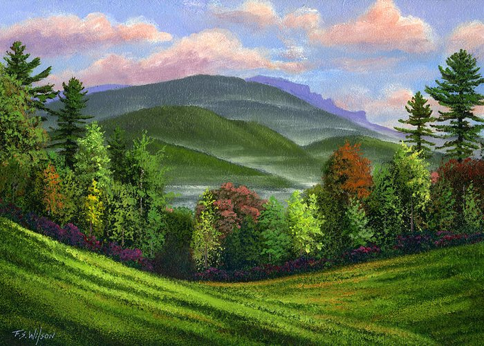 Landscape Greeting Card featuring the painting Spring Time by Frank Wilson