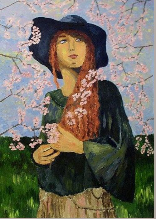 Portrait Greeting Card featuring the painting Spring Time by Mats Eriksson