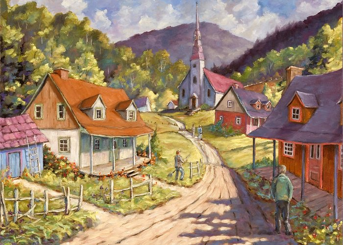 Art Greeting Card featuring the painting Spring Time Sun by Richard T Pranke