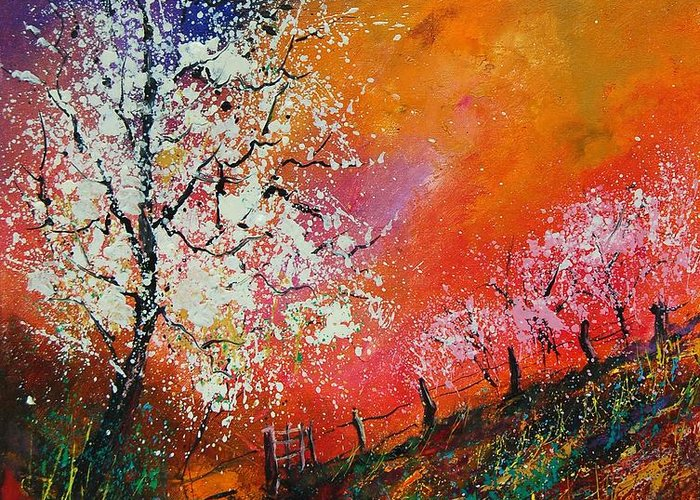 Spring Greeting Card featuring the painting Spring Today by Pol Ledent