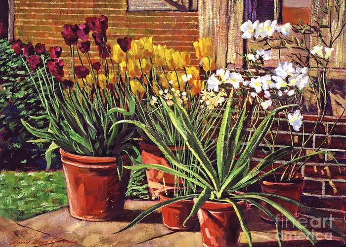 Patio Greeting Card featuring the painting Spring Tulips And White Azaleas by David Lloyd Glover