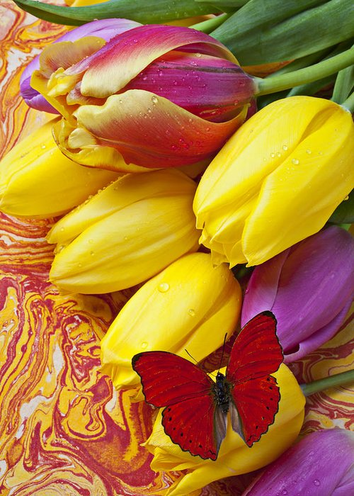 Red Greeting Card featuring the photograph Spring Tulips by Garry Gay