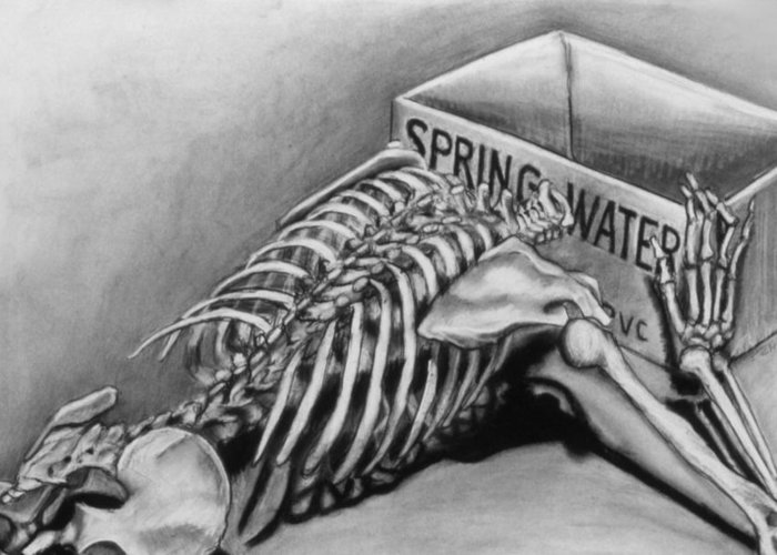 Skeleton Greeting Card featuring the drawing Spring Water by John Clum