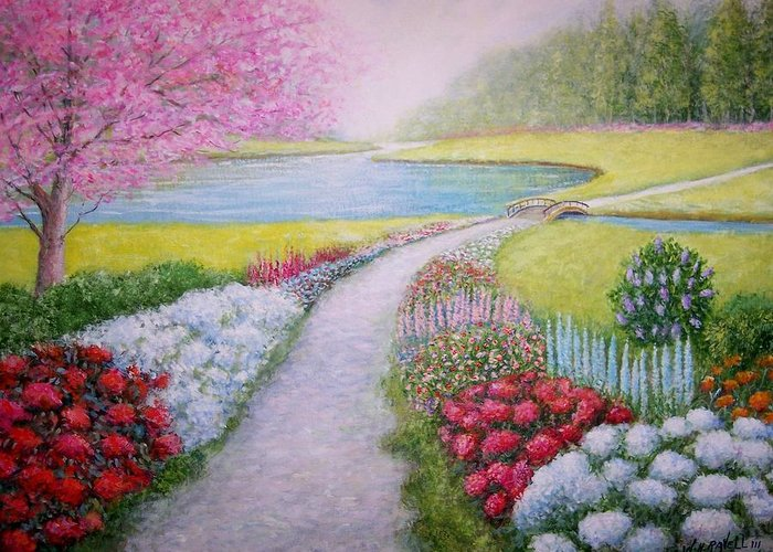 Landscape Greeting Card featuring the painting Spring by William H RaVell III