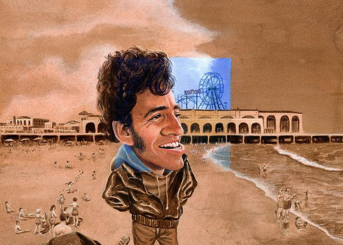 Bruce Springsteen Greeting Card featuring the painting Springsteen On The Beach by Ken Meyer jr