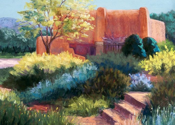 Santa Fe Landscape Greeting Card featuring the pastel Springtime Adobe by Candy Mayer