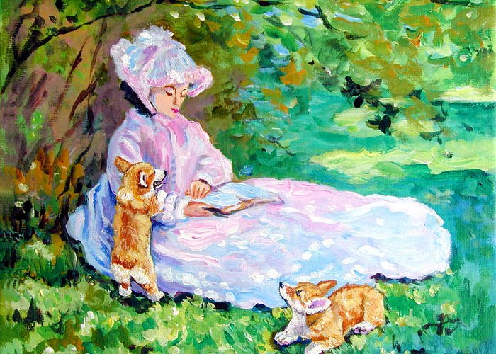 Pembroke Welsh Corgi Greeting Card featuring the painting Springtime After Monet by Lyn Cook