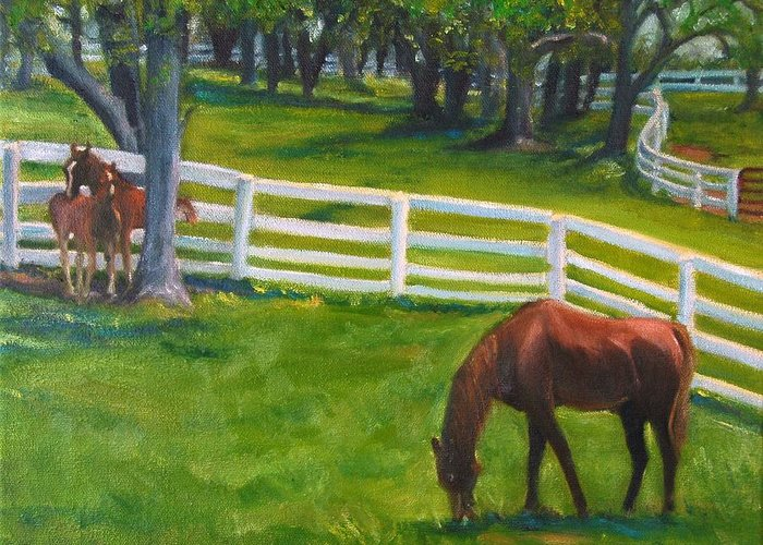Equine Greeting Card featuring the painting Springtime At Undulata by Stephanie Allison