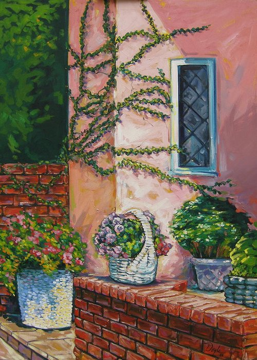 Pink Greeting Card featuring the painting Springtime by Karen Doyle