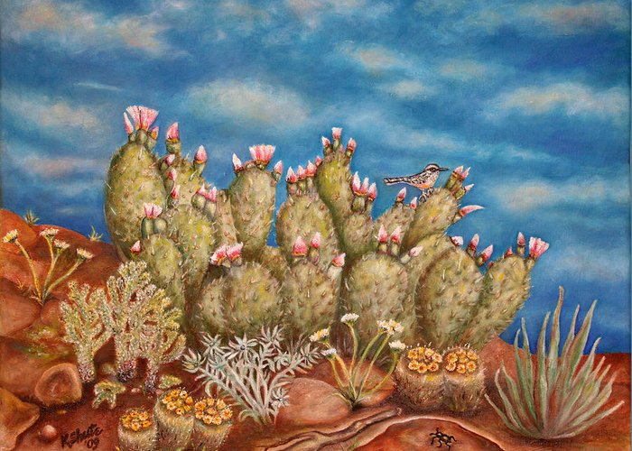 Greeting Card featuring the painting Springtime Succulence by Kathy Shute