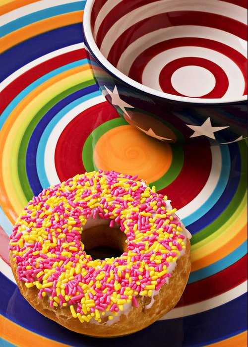 Donuts Greeting Card featuring the photograph Sprinkled Donut On Circle Plate With Bowl by Garry Gay
