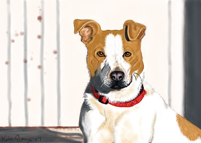Dogs Greeting Card featuring the painting Spur by Kim Souza