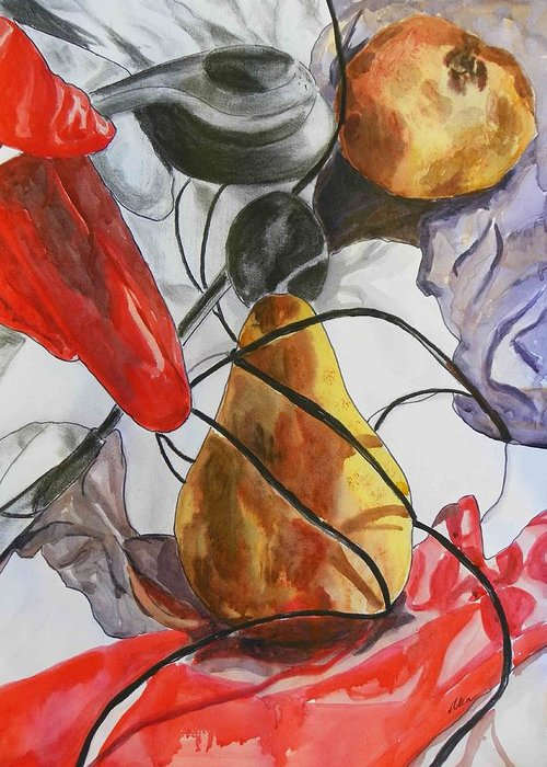 Fruits Greeting Card featuring the painting Spying On Fruit by Evguenia Men
