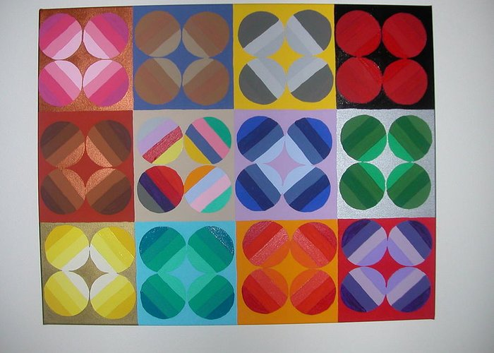 Multi Colored Circles On Squares Greeting Card featuring the painting Square Dancing by Gay Dallek