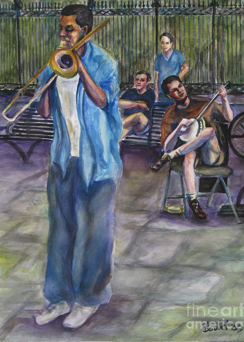 New Orleans Greeting Card featuring the painting Square Slide by Beverly Boulet