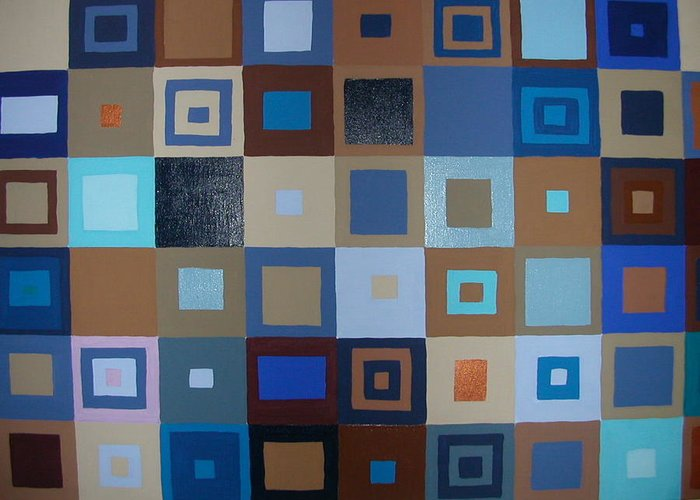 Shades Of Brown And Blue Squares Painting Greeting Card featuring the painting Squares Have It by Gay Dallek
