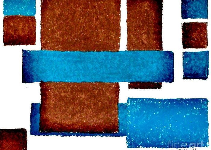 Oil Pastels Greeting Card featuring the digital art Squares Long And Short by Marsha Heiken