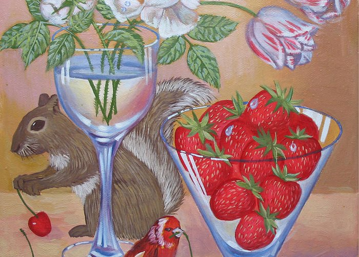 Food Greeting Card featuring the painting Squirrel Cherry .2006 by Natalia Piacheva