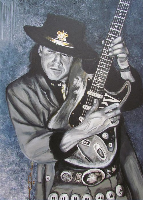 Stevie Ray Vaughan Greeting Card featuring the painting Srv - Stevie Ray Vaughan by Eric Dee