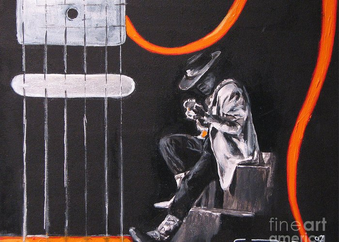 Stevie Ray Vaughn Greeting Card featuring the painting Srv - Stevie Ray Vaughn by Eric Dee